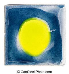 Handmade glazed ceramic tile - Blue handmade glazed ceramic...
