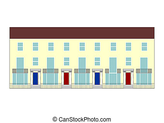 terraced house illustration - illustration of a traditional...