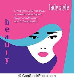 Fashion lady retro style, beautiful woman face, makeup...