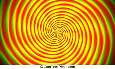 Animated abstract illustration of bright colorful spirals rotating on white background. Colorful animation, seamless loop.