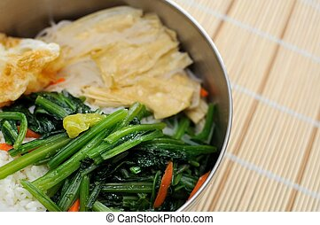Asian style packed meal. For concepts such as diet and...