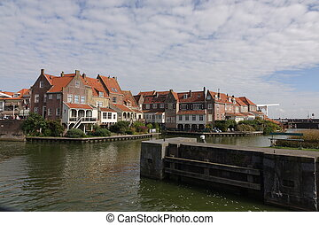 Harbour, water, houses, sky - Entrance Harbour Enkhuizen.