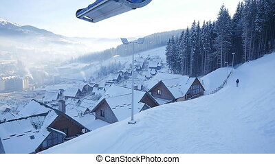 winter snow village. mountain tourism. winter season -...