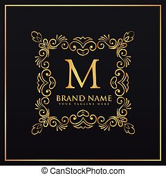 floral decorative frame border monogram logo for letter M