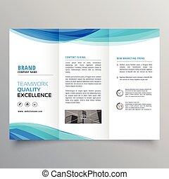 azul, trifold, empresa / negocio, onda, plantilla, folleto,...