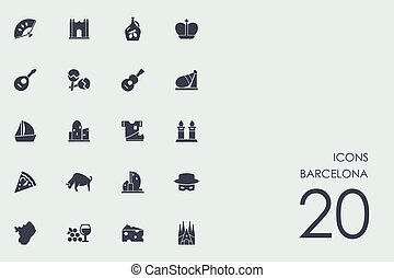 Set of Barcelona icons - Barcelona vector set of modern...