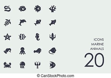 Set of marine animals icons