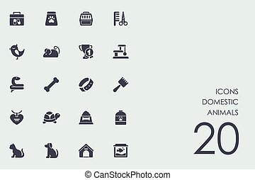 Set of domestic animals icons - domestic animals vector set...