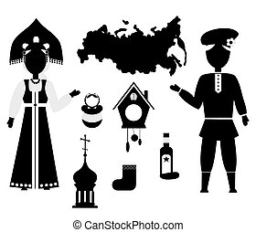 russia flat dsign black - set of icons in the style of a...