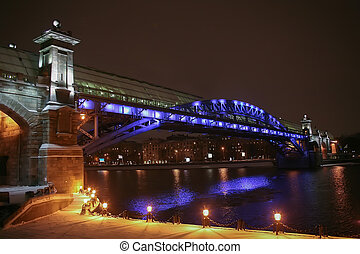 winter night Moscow foot bridge