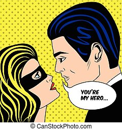 Man and woman in black superhero mask love couple in vintage pop art comic style