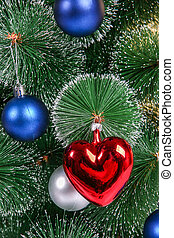 Christmas decorations on a Christmas tree close up