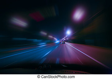 high-speed movement at night - high-speed movement on the...