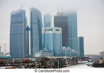 Moscow - City in the fog in winter