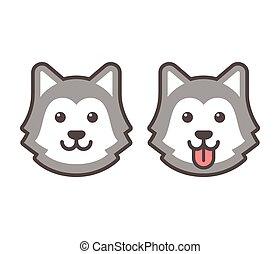 Husky head icons - Cute cartoon husky dog head icons,...