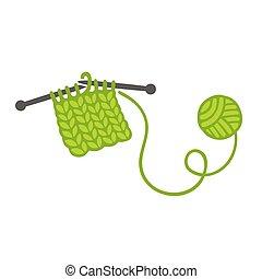agulhas, bola, tricotando, fio
