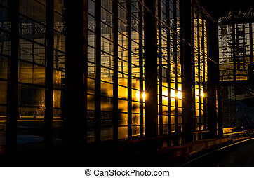 trainstation in berlin with evening sun - trainstation in...