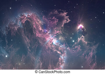Space background with nebula and stars. Glowing nebula is...