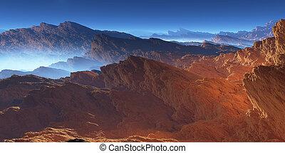 Fantasy volcanic rocks desert landscape