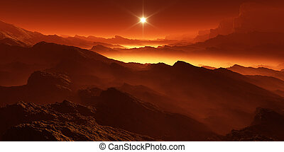 Titan, largest moon of Saturn with atmosphere. Surface...