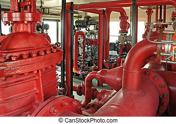 Fire pump. - Pumping fire at the facility, the oil base.