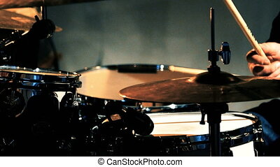 Anonymous Drummer Drumming on Stage. - Anonymous Drummer...