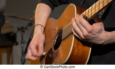 Acoustic, classic, wooden guitar playing