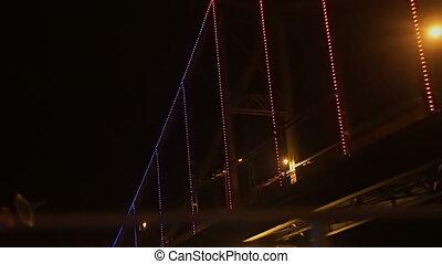 Night view of the luminating bridge