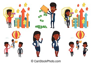 Vector set of business characters. - Two employees looking...