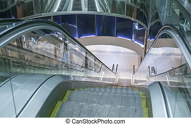 escalator of modern building with moving steps