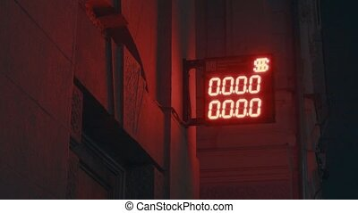 Electronic clocks in the night city