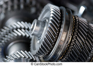 Parts from a gearbox - Parts from a vehicle gearbox. Shallow...