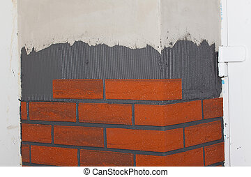 Brick tiles on the walls. - Reconstruction of the house....