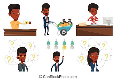 Vector set of business characters. - African business woman...