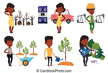 Vector set of characters on ecology issues. - Woman charging...