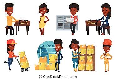 Vector set of industrial workers. - African shoemaker...