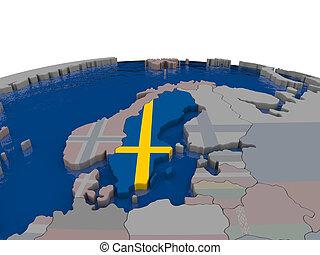 Sweden with flag - Flag of Sweden on globe. Official flag...