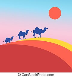 Vector many of camels - Vector illustration many camels in...