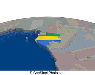 Gabon with flag - Flag of Gabon on globe. Official flag...