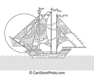 Sailing ship drawing coloring book vector - Sailing ship...