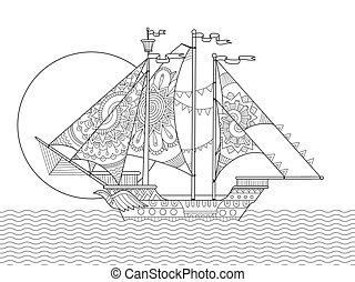 Sailing ship drawing coloring book vector - Sailing ship...