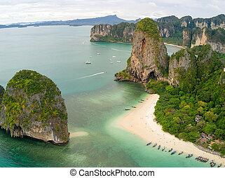 Phra Nang beach Thailand - Aerial view of Phra Nang tropical...