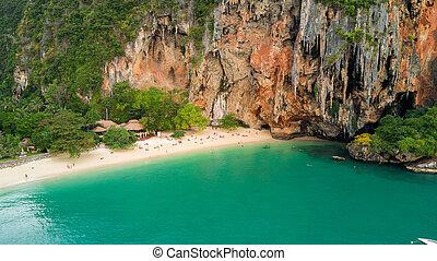 Tropical beach in Thailand - Aerial view of Phra Nang...