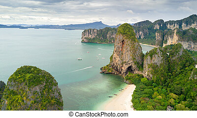 Ao Nang beach Thailand - Aerial view of Phra Nang tropical...