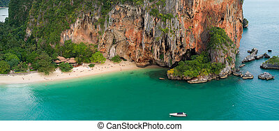 Tropical beach in Thailand - Aerial view of Phra Nang...