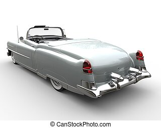 Cool silver oldtimer car - rear view