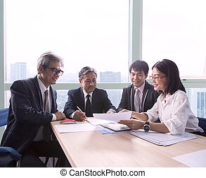 team of business man and woman project meeting team work and...