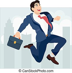 Businessman jumping on the background of the city