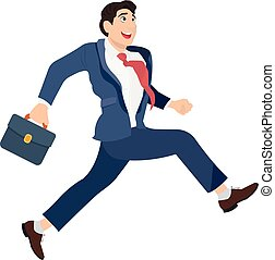 Happy businessman in a suit with a suitcase