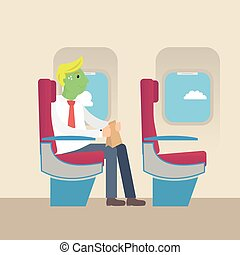 Businessman with green face frightened by flight